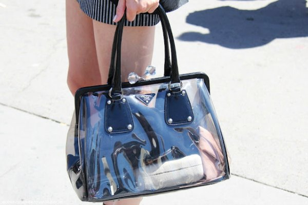 Прозрачная сумка из пластика Prada