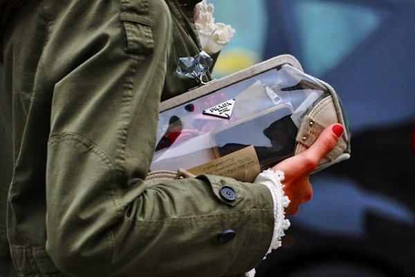 Прозрачный клатч из пластика Prada