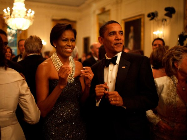 First Lady Michelle Obama and President Barack Obama Get Down to Earth, Wind, and Fire at the Governors Ball