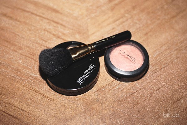 Duo Mat Powder Foundation, Make Up For Ever; Mineralized Blush, M.A.C; кисть M.A.C