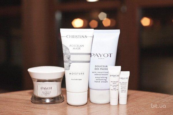 Nutricia Crème, Payot; Douceur des Mains, Payot; My Payot Regard, Payot; My Payot Nuit, Payot; Porcelan Masque Moisture, Christina