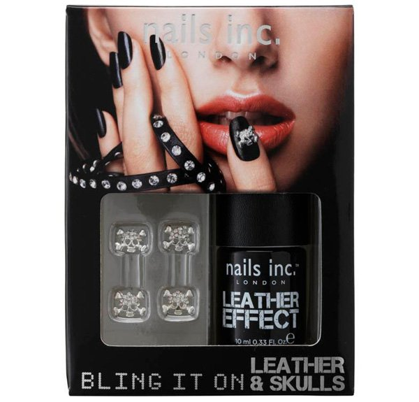 Nails Inc Bling It On Leather Skulls Black Polish