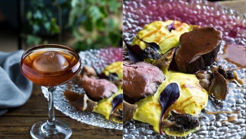 Нежное филе телятины в золе с кукурузным пюре и белыми грибами, 245 грн, и коктейль «Золота перлина», 135 грн