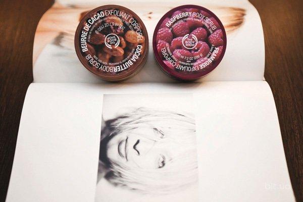 Cocoa Butter Body Scrub, The Body Shop; Raspberry Body Scrub, The Body Shop