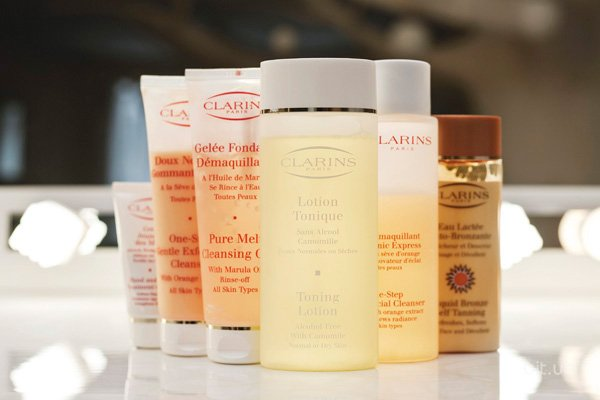 Pure Melt Cleansing Gel, Clarins; One-Step Gentle Exfoliating Cleanser, Clarins; Demaquillant Tonic Express A la Seve d'Orange, Clarins; Eye Contour Balm, Clarins; Lotion Tonique Camomille, Clarins; Liquid Bronze, Clarins