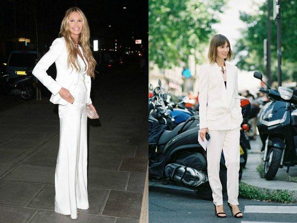 Как правильно носить белый брючный костюм (2)