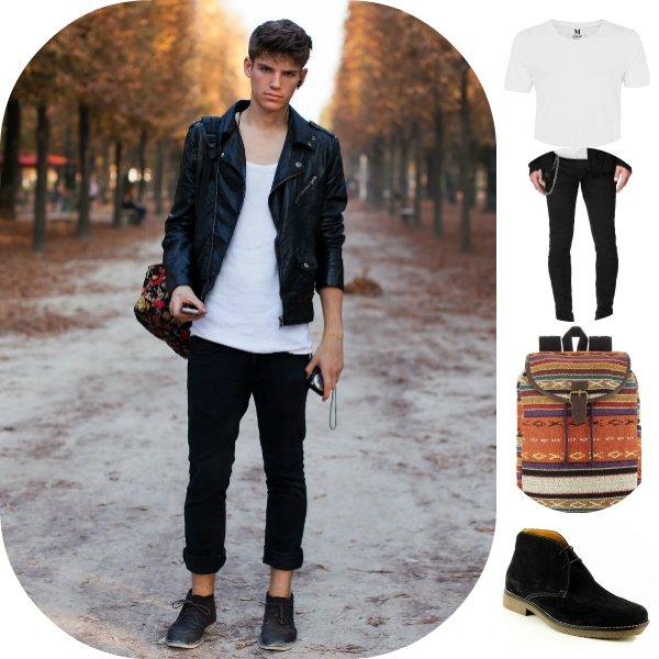 Как это носить: 5 мужских образов с кожаной курткой-косухой