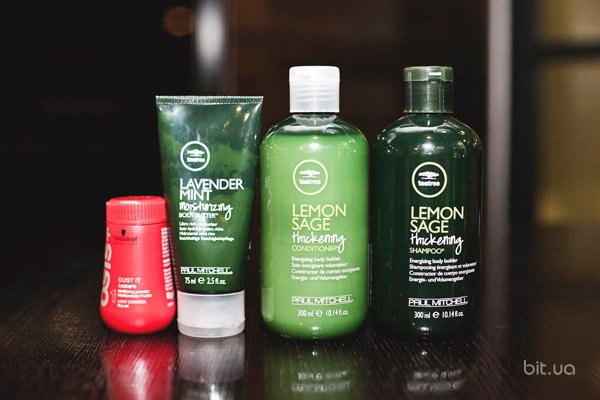 Lemon Sage Thickening Conditioner, Paul Mitchell; Lemon Sage Thickening Shampoo, Paul Mitchell; Lavender Mint Moisturizing Body Butter, Paul Mitchell; Dust it, Schwarzkopf Osis+