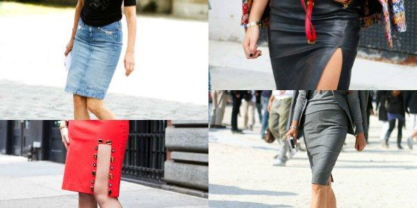 Узкая юбка, юбка с разрезои