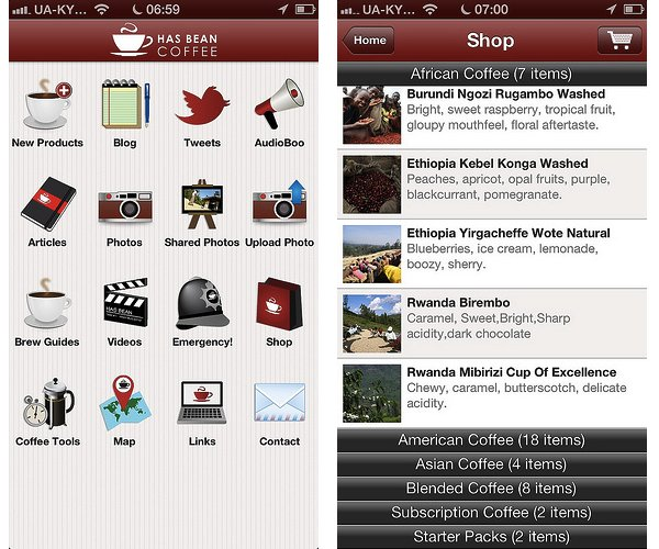 ТОП5 кофейных мобильных приложений