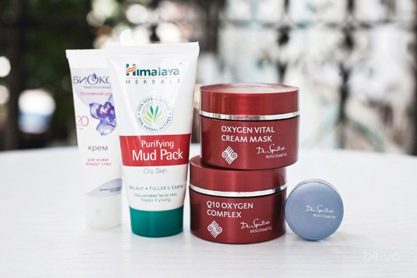 Основной уход 20+, Биокон; Clarifying Mud Pack, Himalaya Herbals; Q10 Oxygen Complex, Oxygen Vital Cream Mask, Sensitive Beauty Care Day – Light, все - Dr. Spiller Biocosmetic