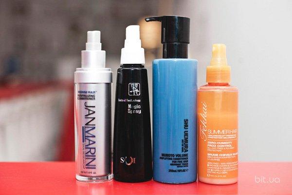 Hair Revitalizing Conditioner, Jan Marini; Magic Spray, SUI; Muroto Volume, Shu Uemura; Marine Summer Hair Beach Waves, Frederic Fekkai