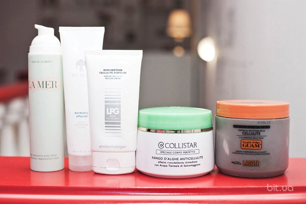 The Reparative Body Lotion, La Mer; Dermatic Effects Body Contouring Lotion, Nu Skin; Soin Destock Cellulite Adipeuse, LPG; Fango d'Alghe Anticellulite, Collistar; Cellulite Formula Seaweed Mud, Guam
