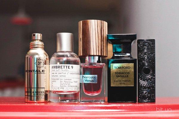 Amber & Spices, Montale; Ambrette 9, Le Labo; Narcotic Venus, Nasomatto; Tobacco Vanille, Tom Ford; Love, Kilian