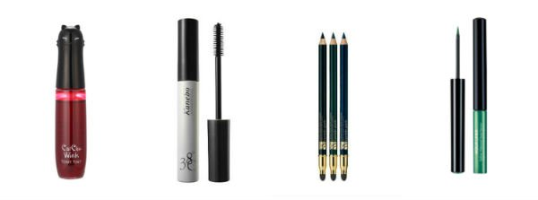 Double Wear Stay-in-Place Eye Pencil, Estee Lauder; Cat Chu Wink Tony Tint, Tony Moly; Aqua Liner, Make Up For Ever; 38C Silk Performance Mascara, Kanebo