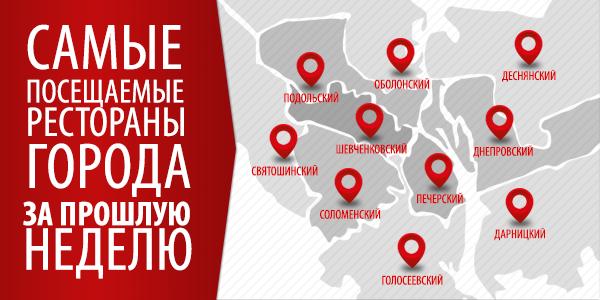 Инфографика: самые посещаемые рестораны города за прошлую неделю