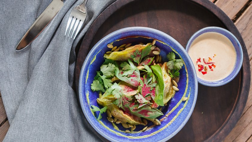 Жаренные вареники с мясом ягненка и пикантным соусом, 105 грн.