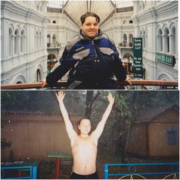 Верхнее фото - 13 лет, нижнее - 15 лет.