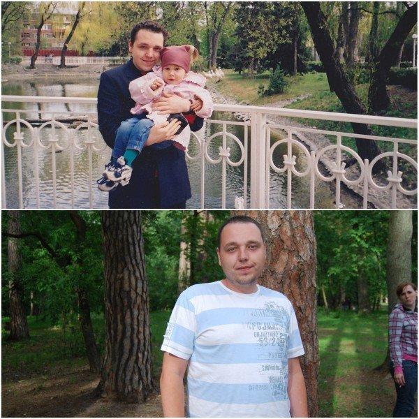 Верхнее фото - 20 лет, нижнее фото - 25 лет.