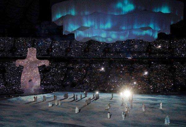 A giant polar bear rises from the floor during the opening ceremony of the Vancouver 2010 Winter Olympics