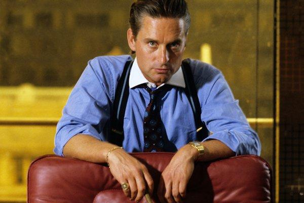 "Michael Douglas as Gordon Gekko  from the original ""Wall Street"", 1987."