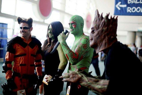 Costumed attendees dressed as characters from Guardians of the Galaxy are seen during the 2014 Comic-Con International Convention in San Diego, California