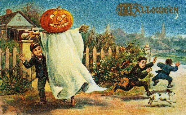 Postcard of Boys Running from Halloween Costume. ca. 1899-1915, Postcard of Boys Running from Halloween Costume