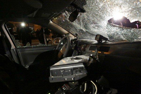 The interior of a vandalized police car is shown in Ferguson, Missouri, after a grand jury returned no indictment in the shooting of Michael Brown