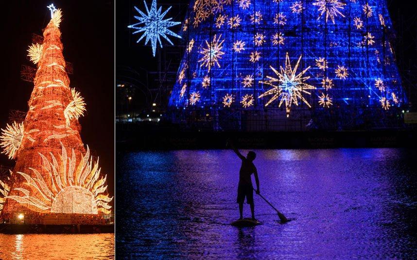 Три миллиона лампочек будут зажигаться каждую ночь в Рио-де-Жанейро, чтобы осветить самую большую (согласно Книге Рекордов Гиннеса) плавающую рождественскую ель в мире.