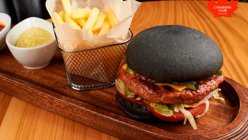 Бургер черный с индейкой – 220 грн