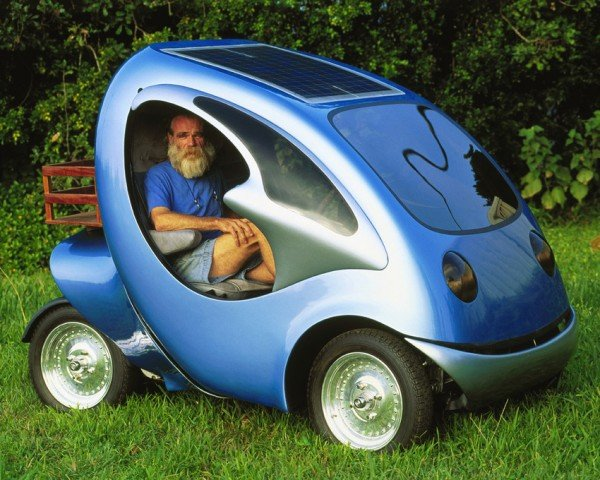 Solar-Electric Vehicle Designer Jonathan Tennyson Sits in One of His Creations