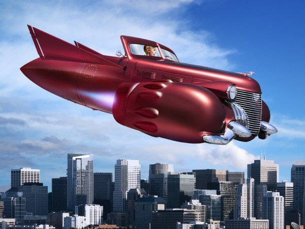Woman Flying Jet Car over City