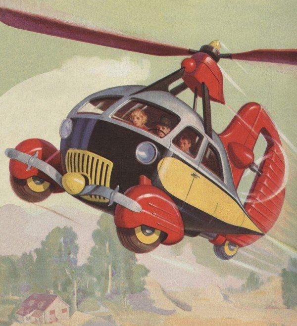 Futuristic helicopter car