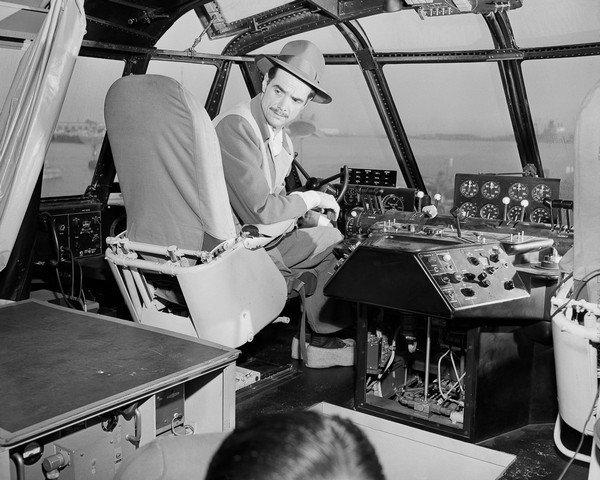 Howard Hughes in Cockpit of Spruce Goose