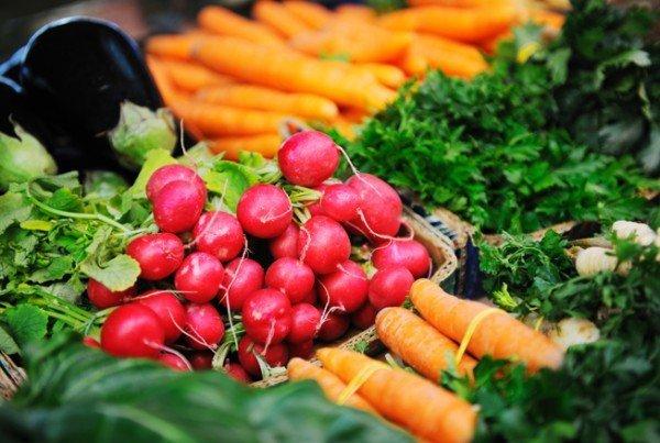 Fresh organic vegetables eco food on market
