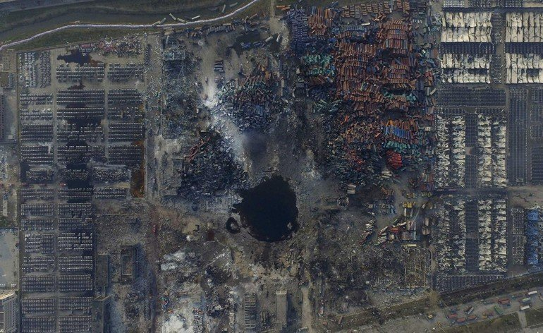 An aerial picture of the site of explosions at the Binhai new district, Tianjin