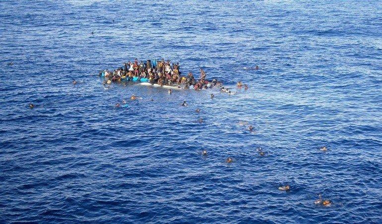 Refugees rescue in Mediterranean sea