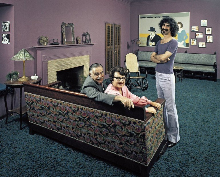 Musician Frank Zappa (R) w. parents (L-R): Francis and Rosemary in Frank's home.
