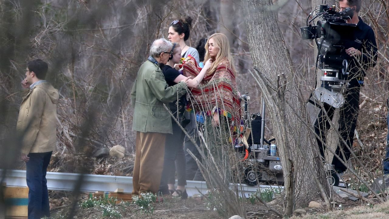 The cameras for the Woody Allen project starring Miley Cyrus just started rolling in Westchester New York. Miley was spotted on location of the Woody Allen's six-episode, half-hour series, which is set in the 1960's. Miley looked the part in a multi-colored poncho and green army fatigues. Also staring in the production is House of Cards alumna Rachel Brosnahan, along with John Magaro, Elaine May and of course Woody Allen. Please byline:TheImageDirect.com