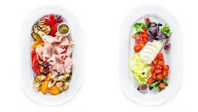 Прочетта с овощами гриль — 250 грн; капрезе — 210 грн