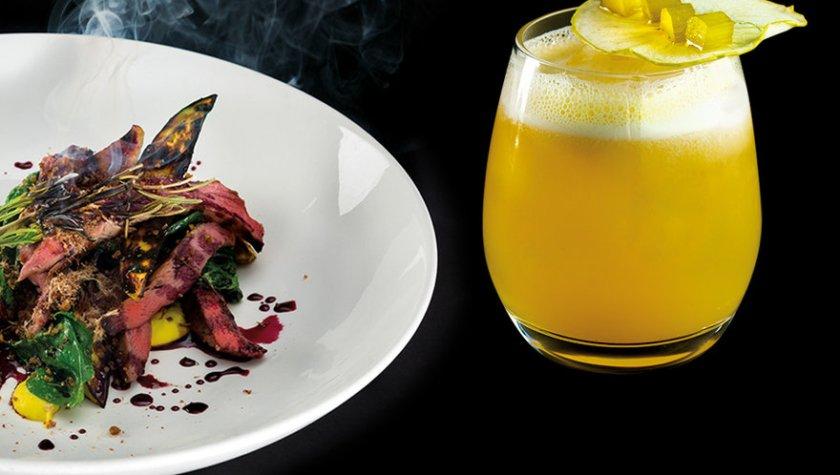 """Нежное утиное филе с грибами эрингами, баклажанами, кукурузным пюре и винным соусом и коктейль """"Ревеневый Сауэр"""""""