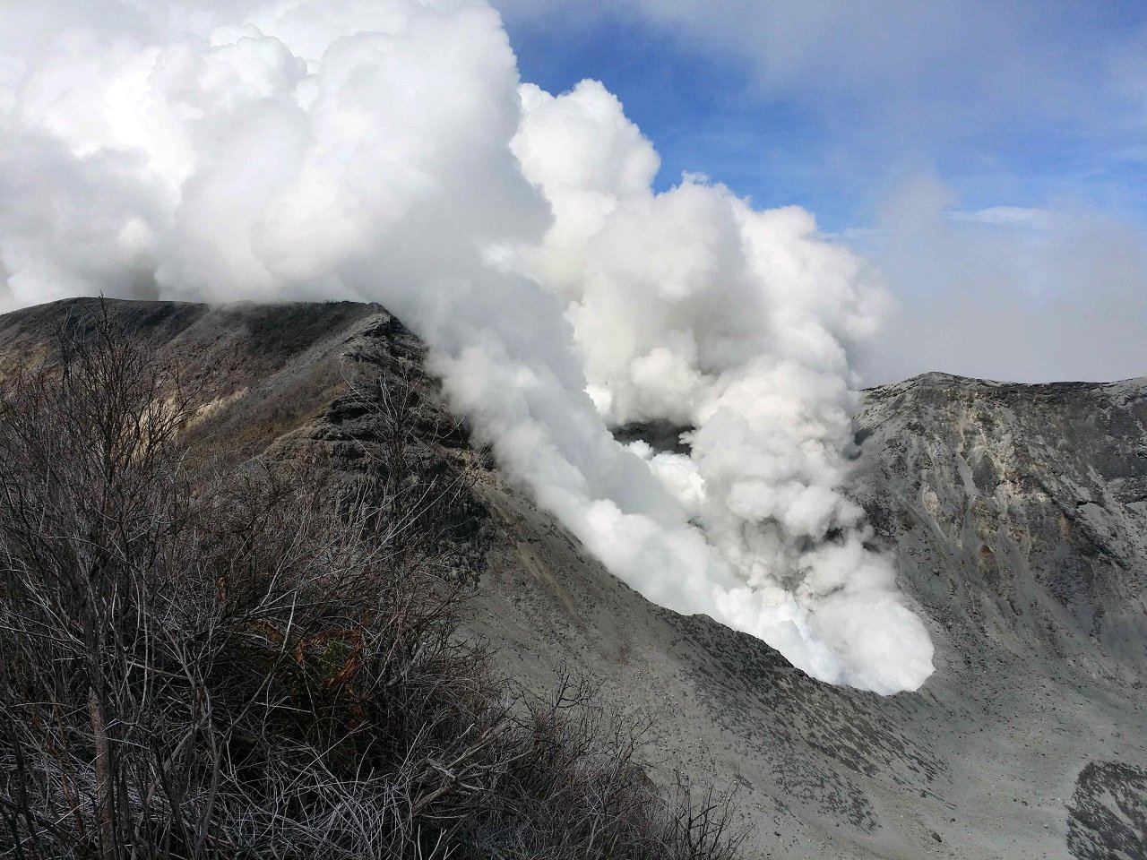 TURRIALBA VOLCANO EXPELS GAS AND ASHES