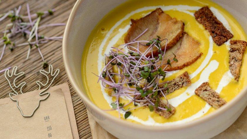 Крем-суп морковный – 70 грн + семечки – 20 грн/бекон – 35 грн