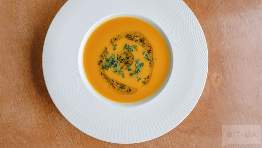 Крем-суп из тыквы с имбирем и кинзой – 90 грн