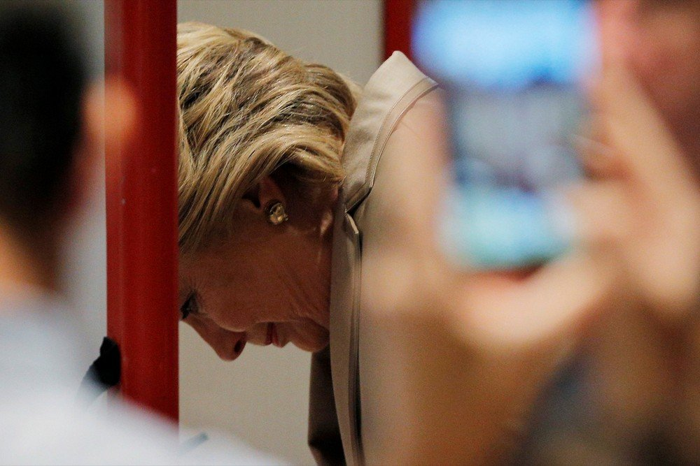U.S. Democratic presidential nominee Hillary Clinton fills out her ballot at the Douglas Grafflin Elementary School in Chappaqua