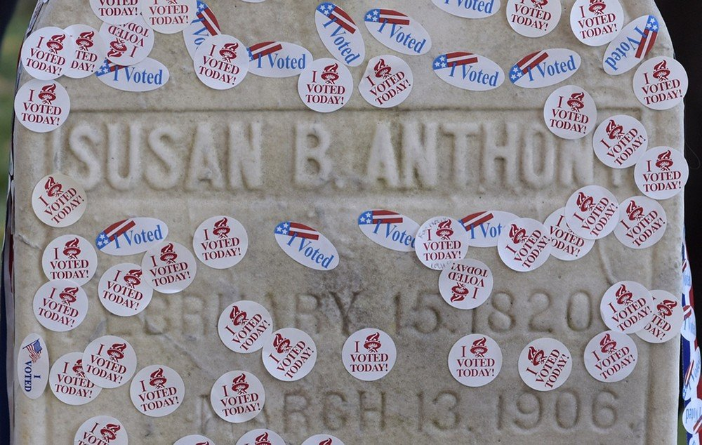 "The grave of women's suffrage leader Susan B. Anthony is pictured covered with ""I Voted"" stickers from the U.S. presidential election at Mount Hope Cemetery in Rochester"