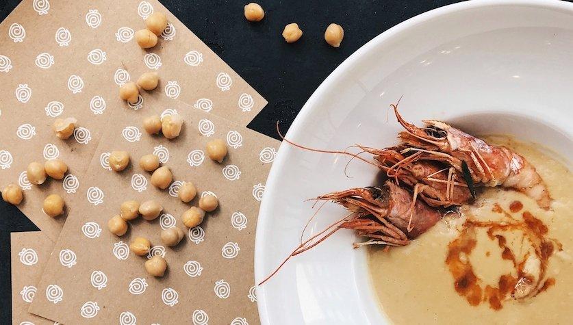 Нутовый крем-суп с тигровыми креветками, 95 грн