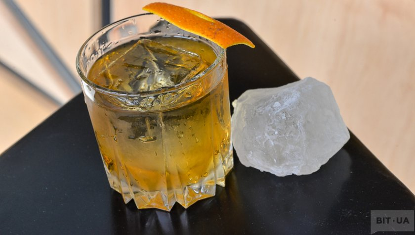 «God Father» — Bourbon, amaretto liquor, orange peal.